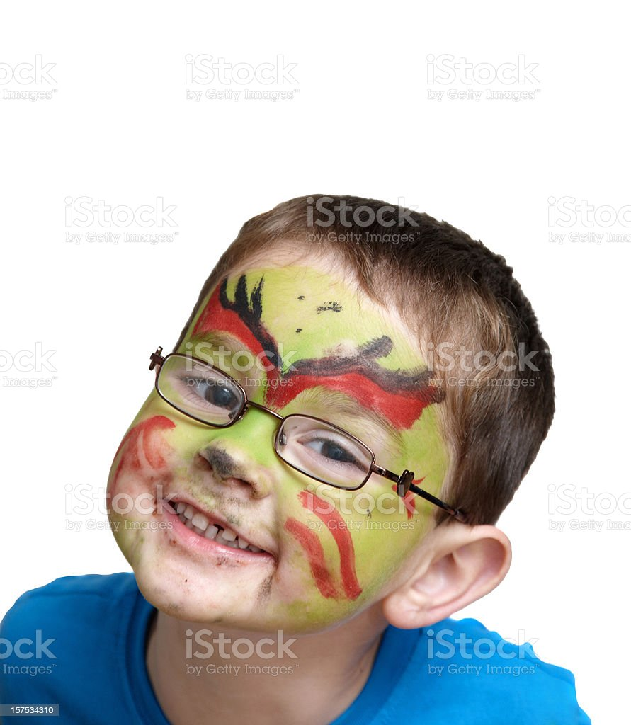 Young boy as face painted goblin royalty-free stock photo