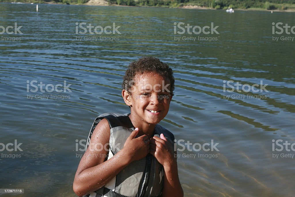 Young Boy Boating royalty-free stock photo