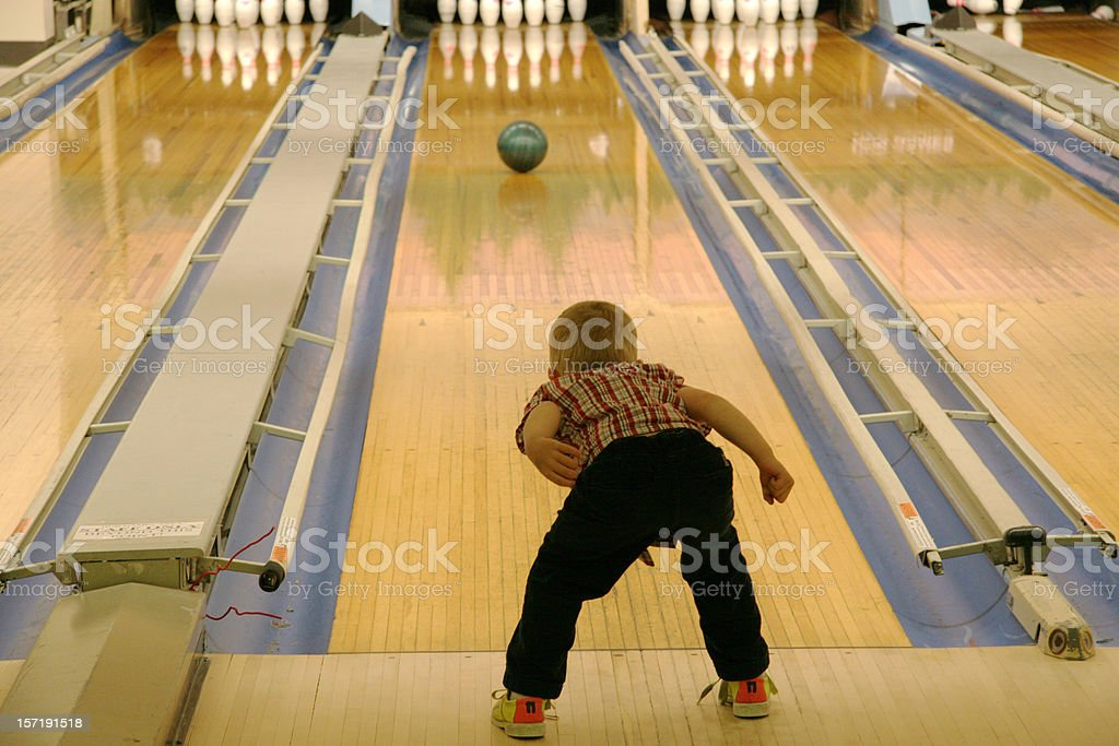 young boy bowling royalty-free stock photo