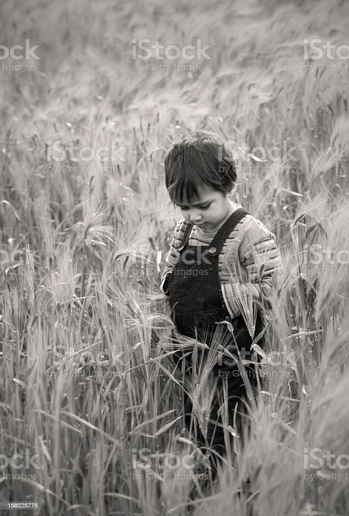 young boy deep in thought royalty-free stock photo