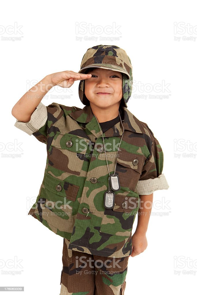 Young Boy Dressed Like a Soldier royalty-free stock photo