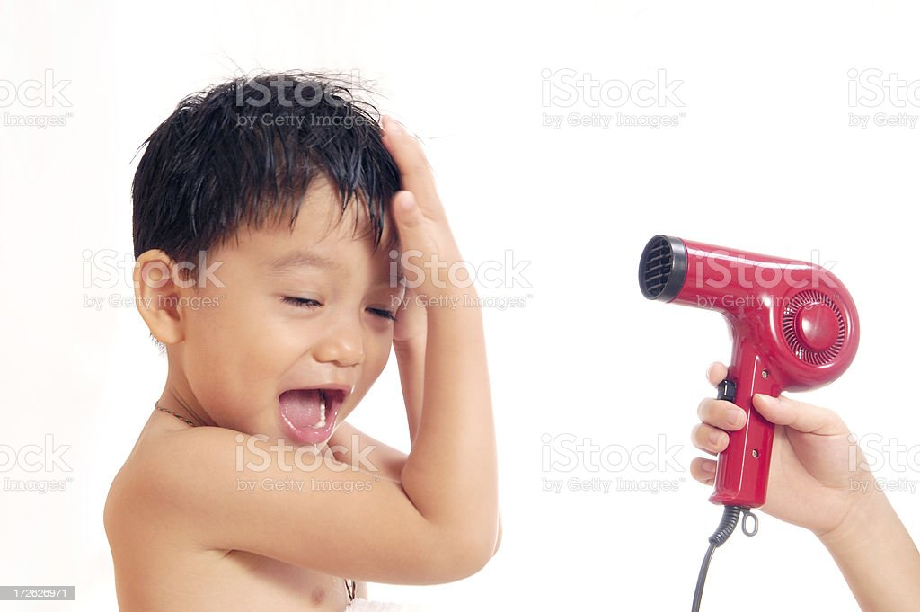 Young Boy Drying Hair royalty-free stock photo