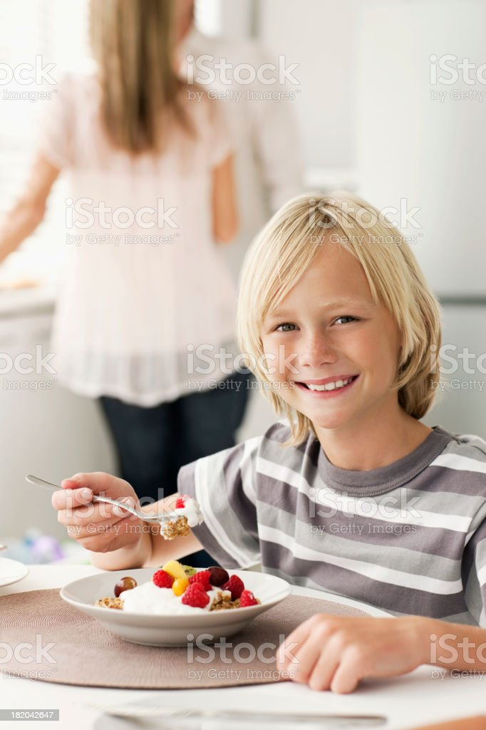 Young Boy Eating Cereal royalty-free stock photo
