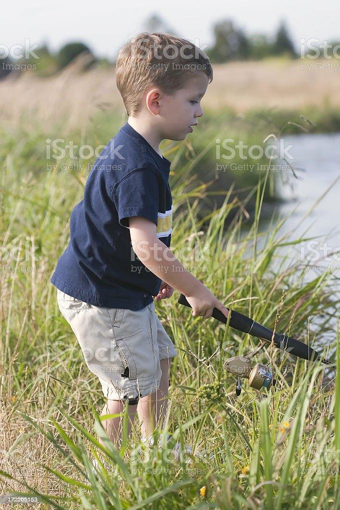 Young Boy Fishing stock photo