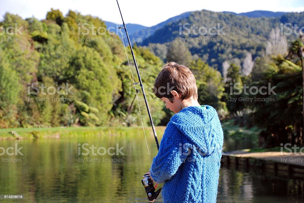 Young Boy Fishing stock photo