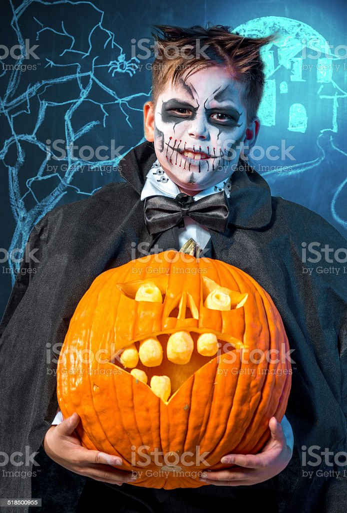Young boy Frankenstein stock photo