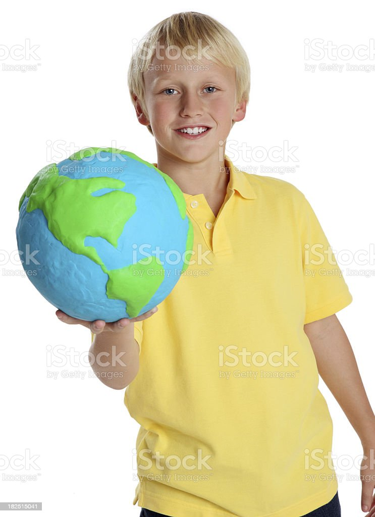 Young Boy Holding a Clay Globe royalty-free stock photo