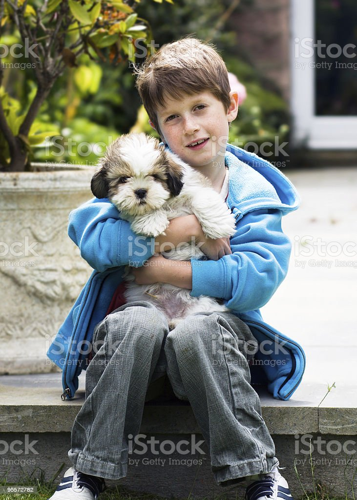 Young boy holding a lhasa apso puppy stock photo
