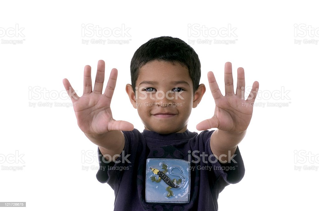 Young Boy Holding out Hands royalty-free stock photo
