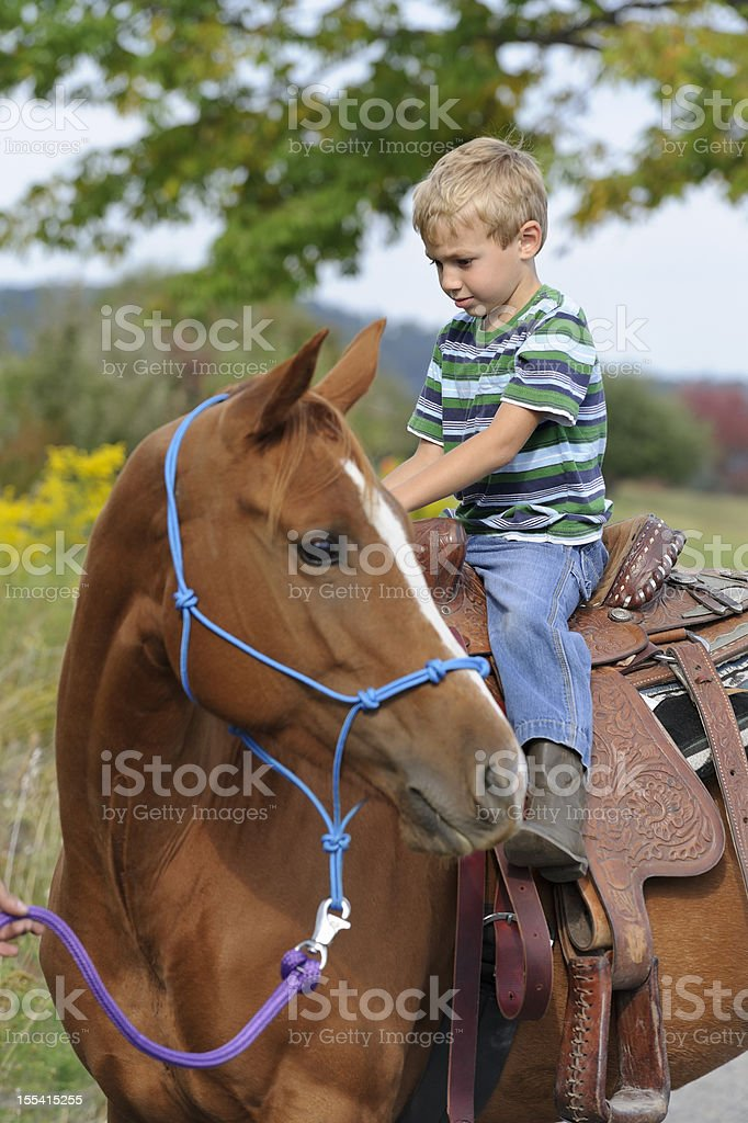 Young Boy Horseback Riding, Child On a Large Horse royalty-free stock photo