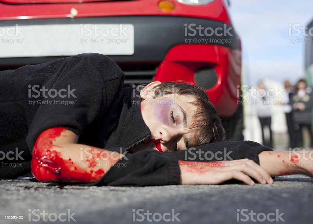 young boy hurt in car accident stock photo