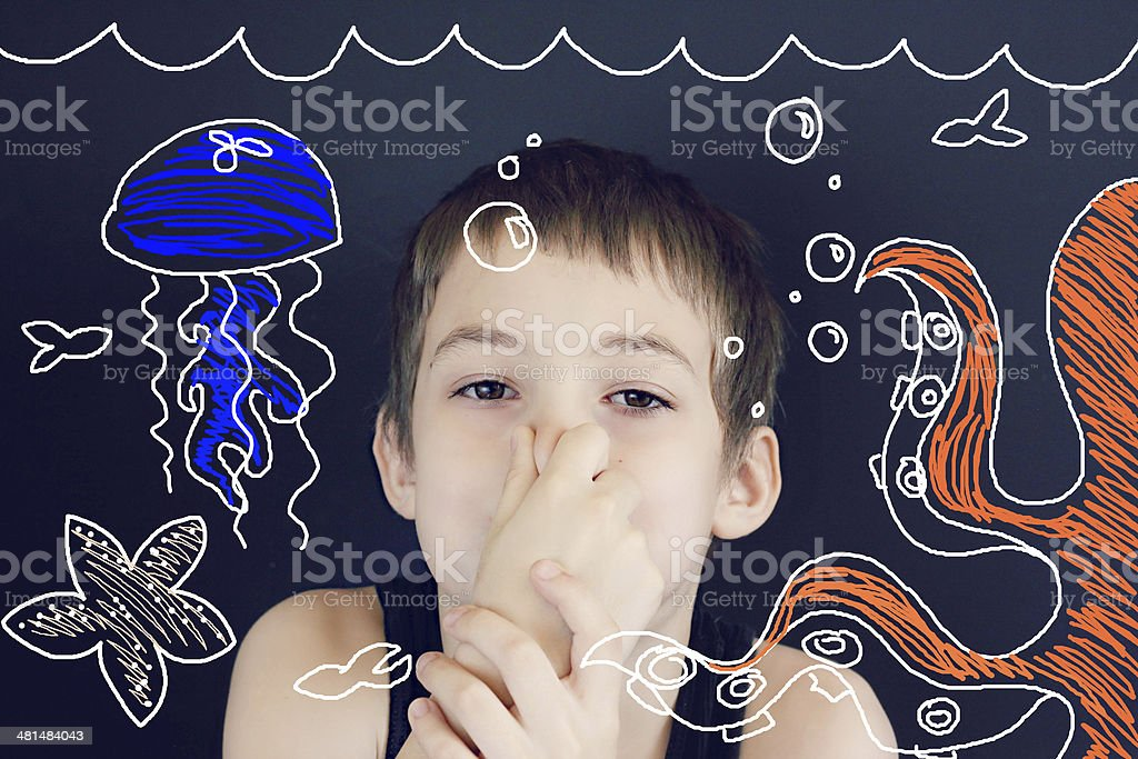 Young Boy Imagination Underwater stock photo