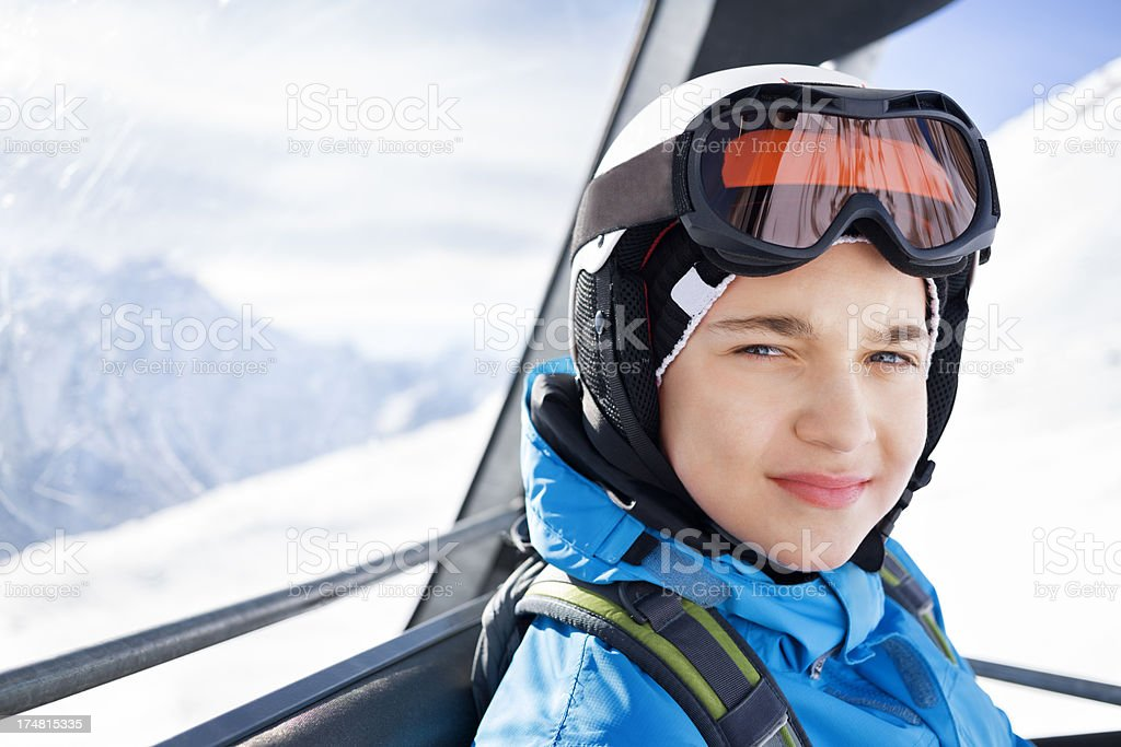 Young boy in a ski cabin royalty-free stock photo
