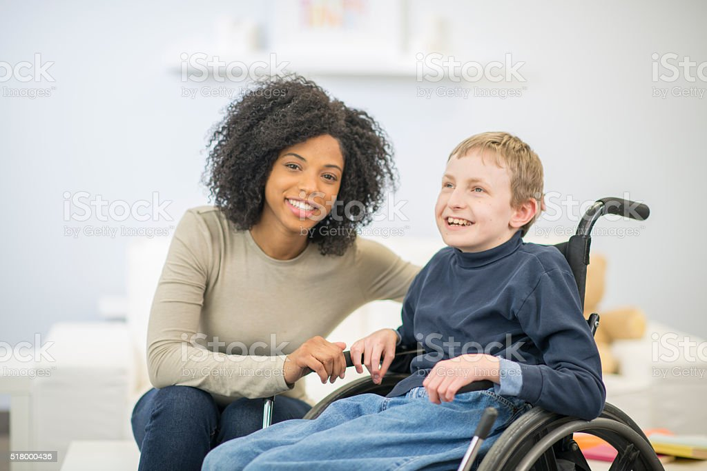 Young Boy in a Wheelchair stock photo