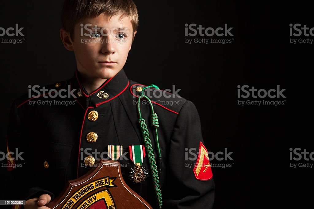 Young Boy in Father's Dress Blues stock photo