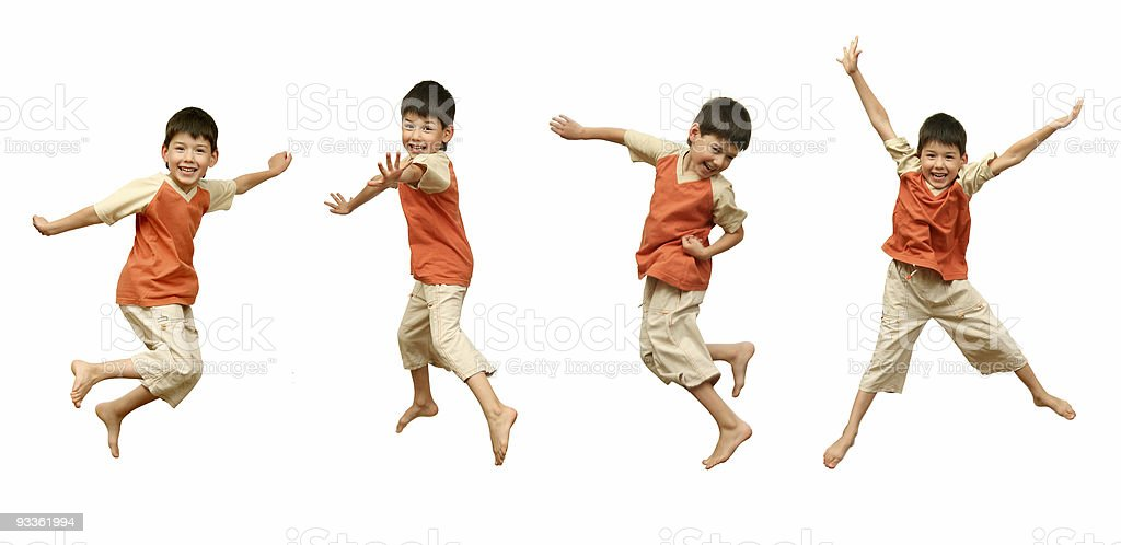 Young boy in four jumping poses, white background stock photo