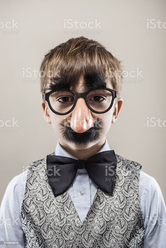 Young Boy in Groucho Marx Disguise stock photo