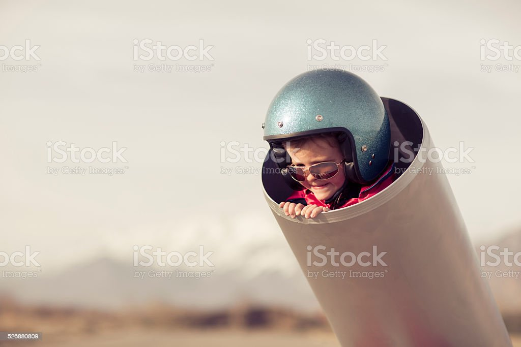 Young Boy in Human Cannon stock photo