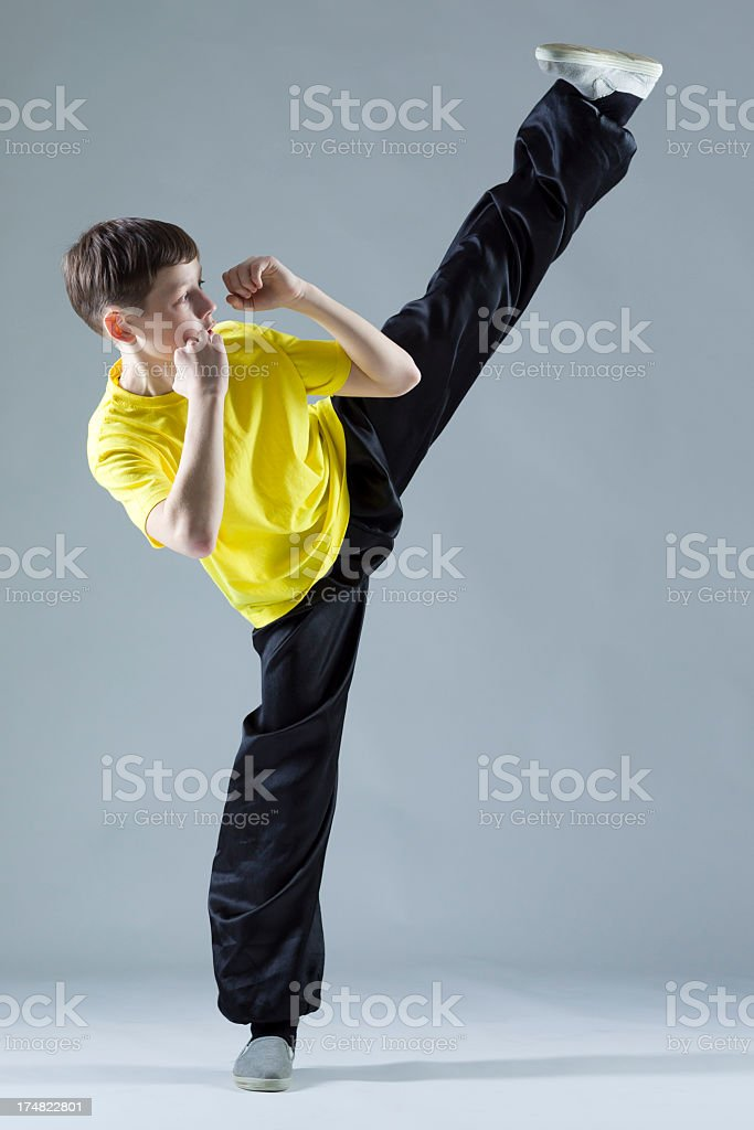 Young Boy in Kung Fu fighting position royalty-free stock photo