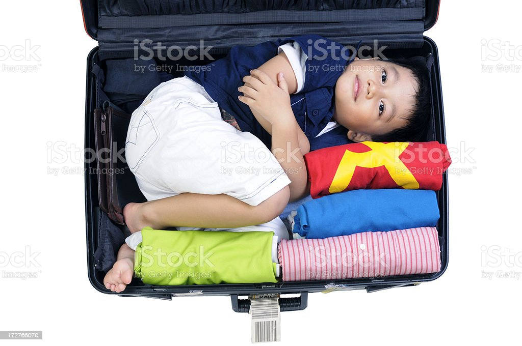 Young Boy In Suitcase stock photo