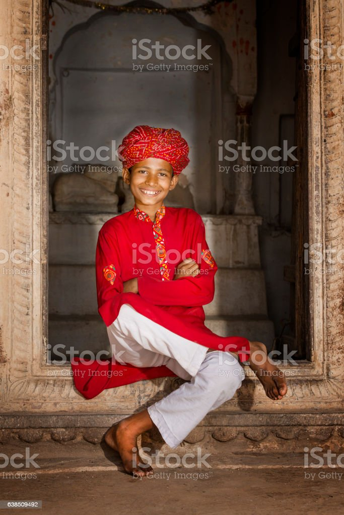 young boy in traditional clothing, Rajasthan, India stock photo