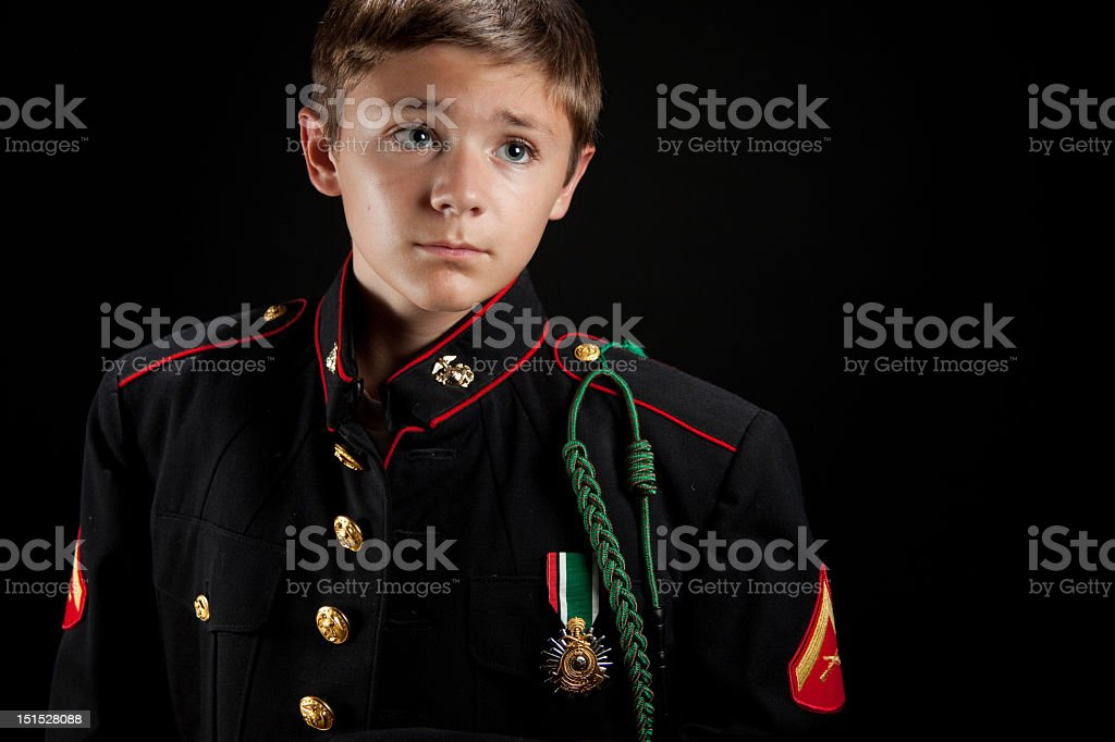 Young Boy in Uniform stock photo