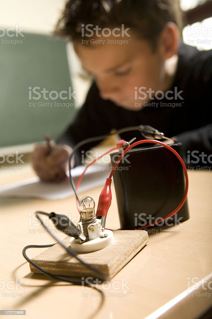 Young boy is learning for technician. stock photo