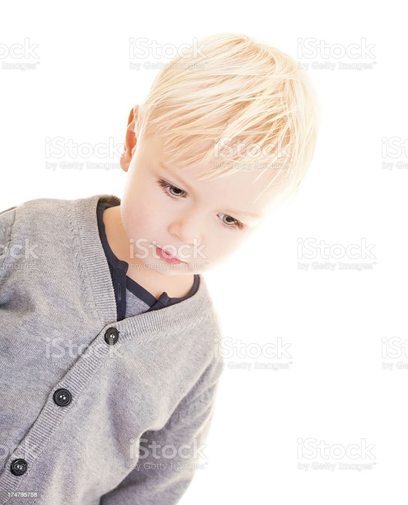 Young boy is looking sad royalty-free stock photo