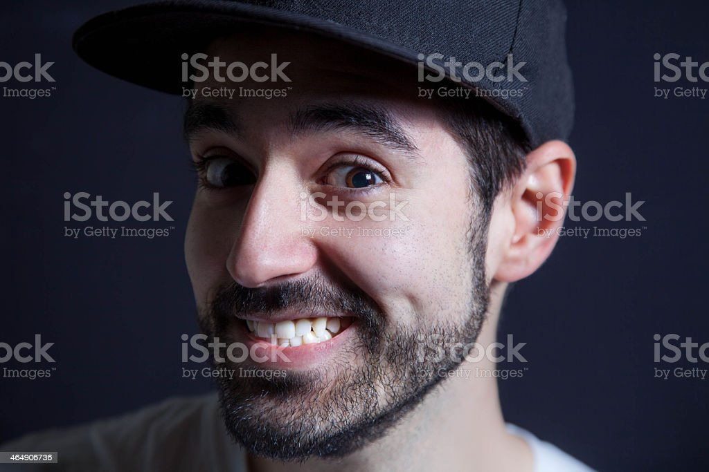 Young boy laughs stock photo