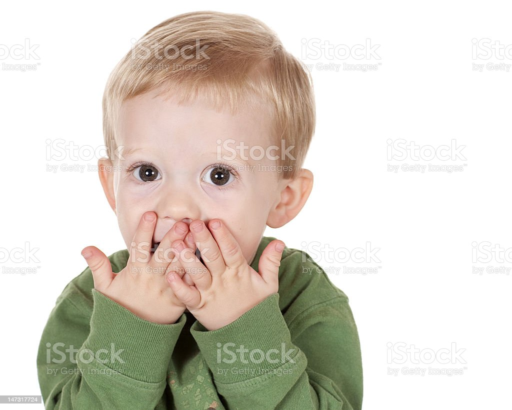 Young Boy Looking Surprised stock photo