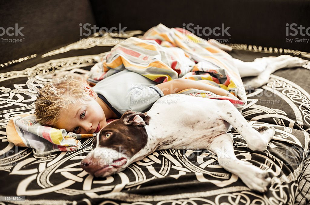 Young boy lying on the sofa with his Dog royalty-free stock photo