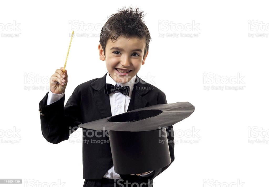 Young boy magician holding a top hat and wand stock photo