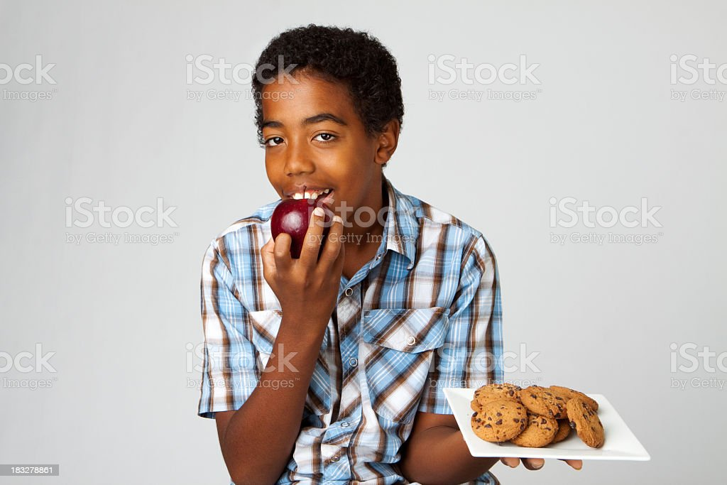 Young boy making good choices royalty-free stock photo