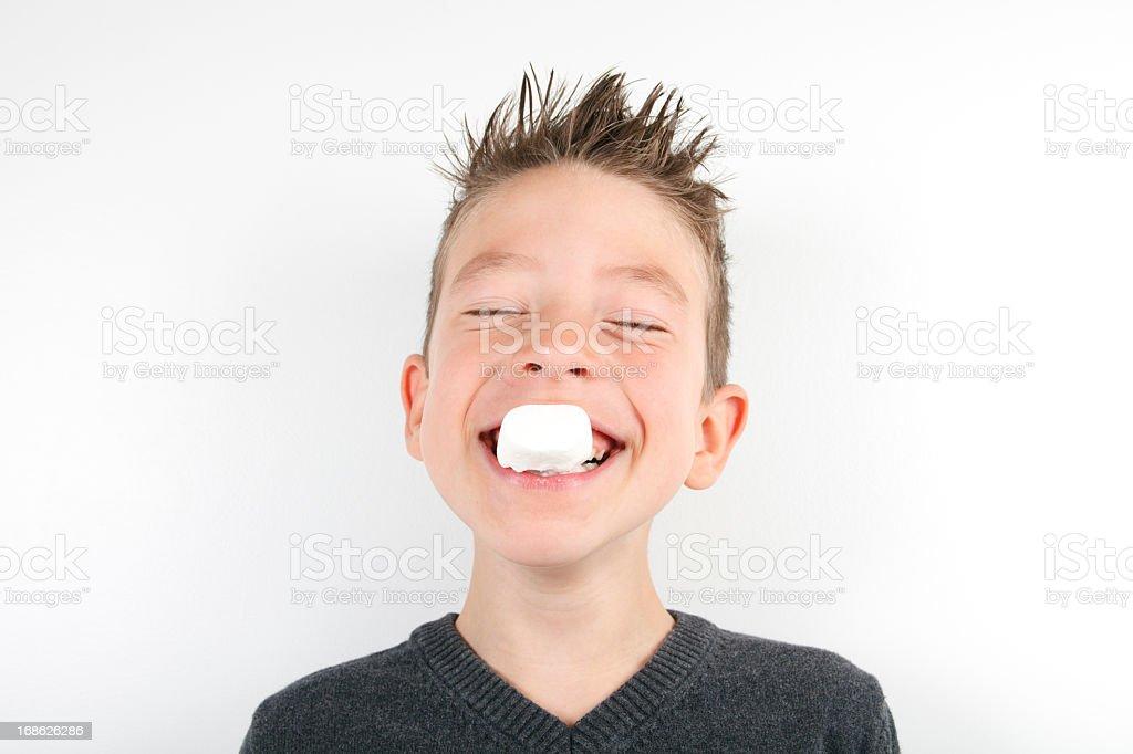Young Boy Marshmallow stock photo