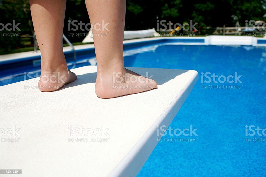 Young Boy on Diving Board stock photo