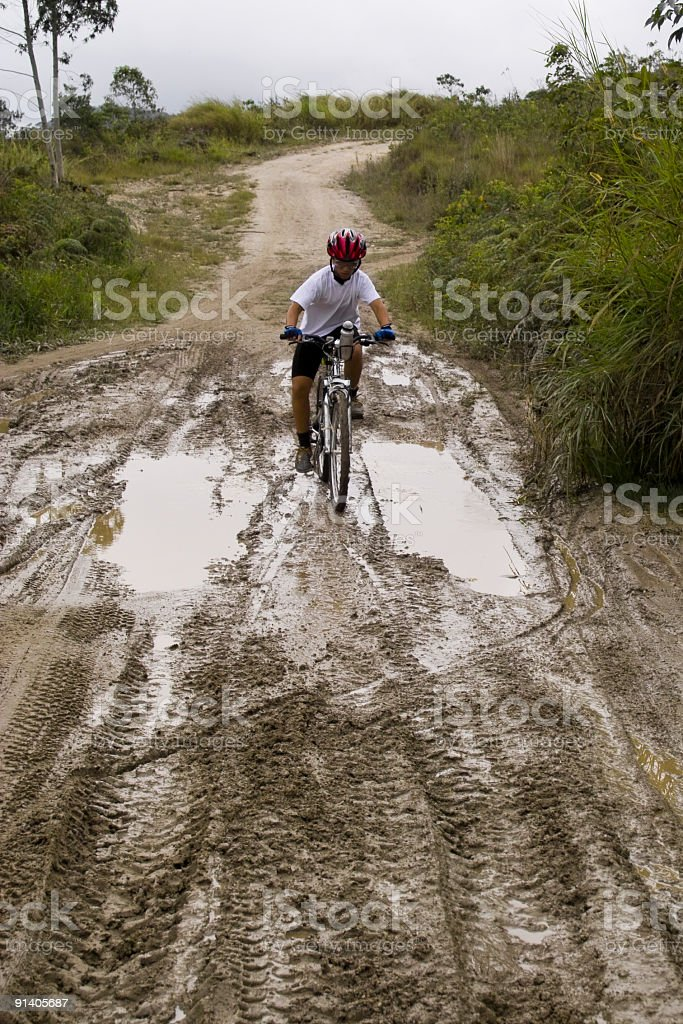 Young boy on mountain bike royalty-free stock photo