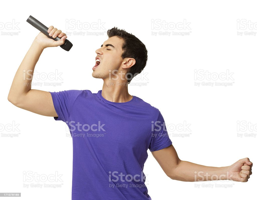 Young Boy Performing a Song - Isolated stock photo