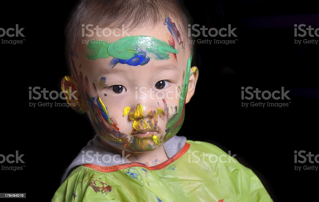 young boy played color game royalty-free stock photo