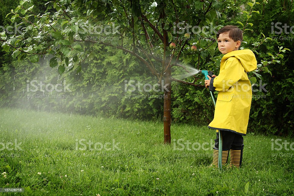 Young boy playing with a hose pipe royalty-free stock photo