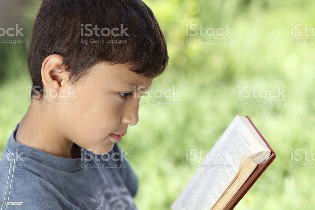 Young boy reading book outside royalty-free stock photo