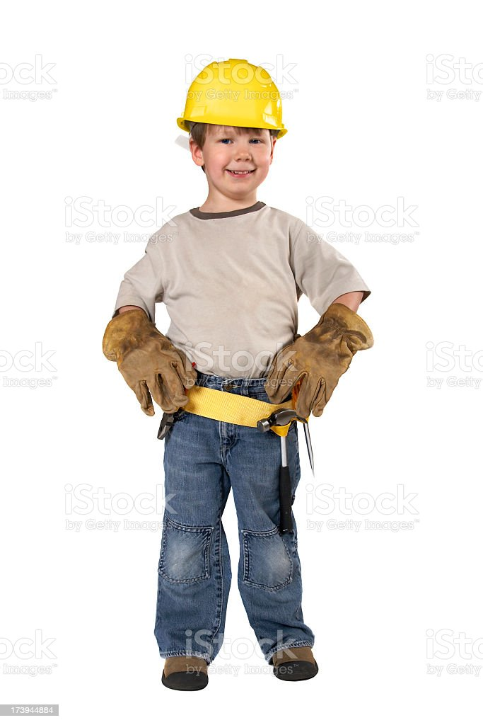 Young boy ready for carpentry royalty-free stock photo