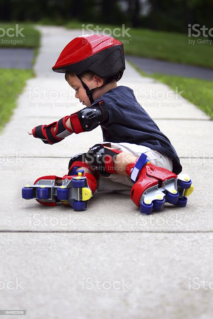 Young Boy Rollerblading royalty-free stock photo
