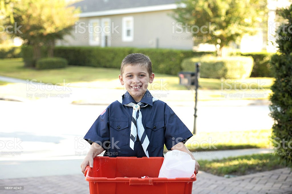Young Boy Scout with Recycling stock photo