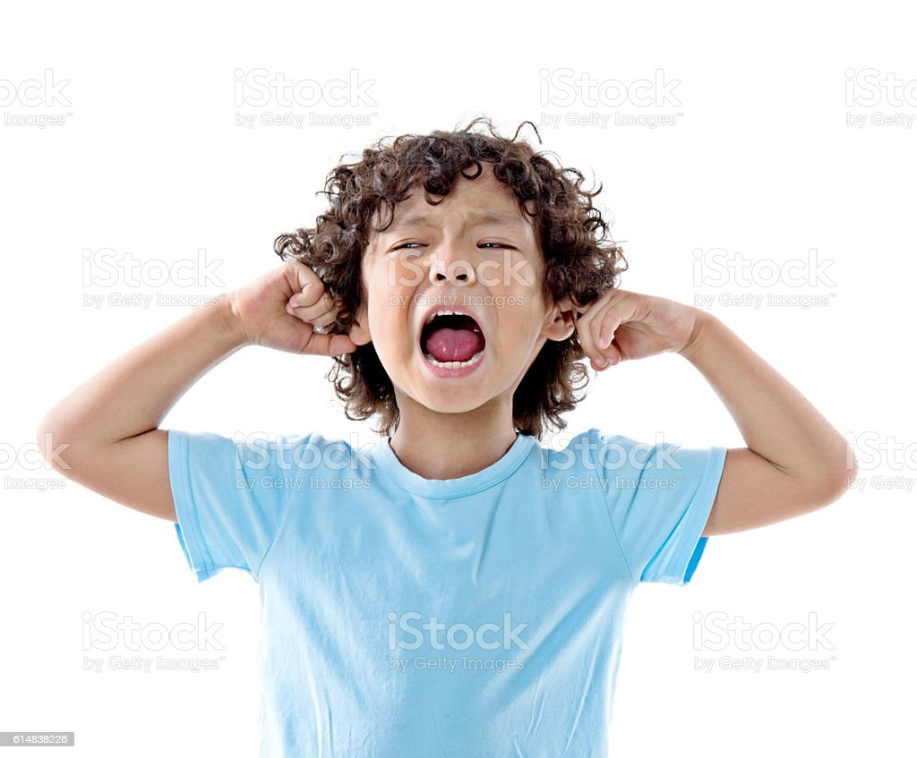 Young boy screaming expression on white background stock photo