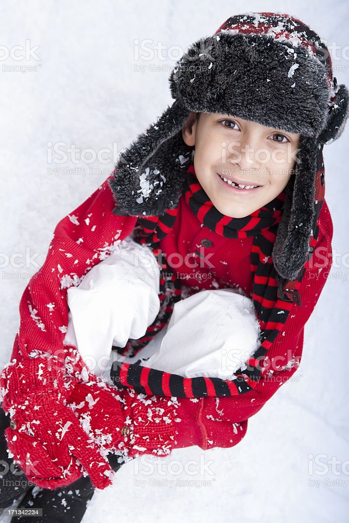 Young boy sitting in the snow royalty-free stock photo