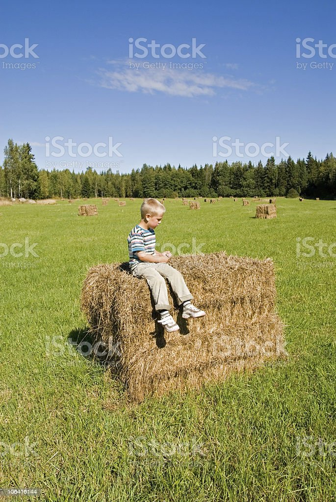 Young boy sitting on a bale of hay in field royalty-free stock photo