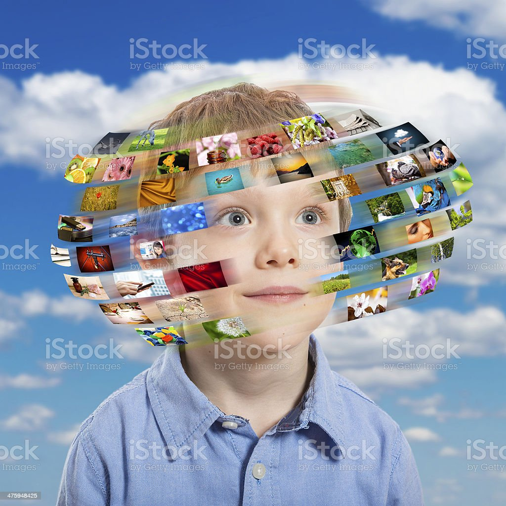 Young boy. Technology concept. stock photo