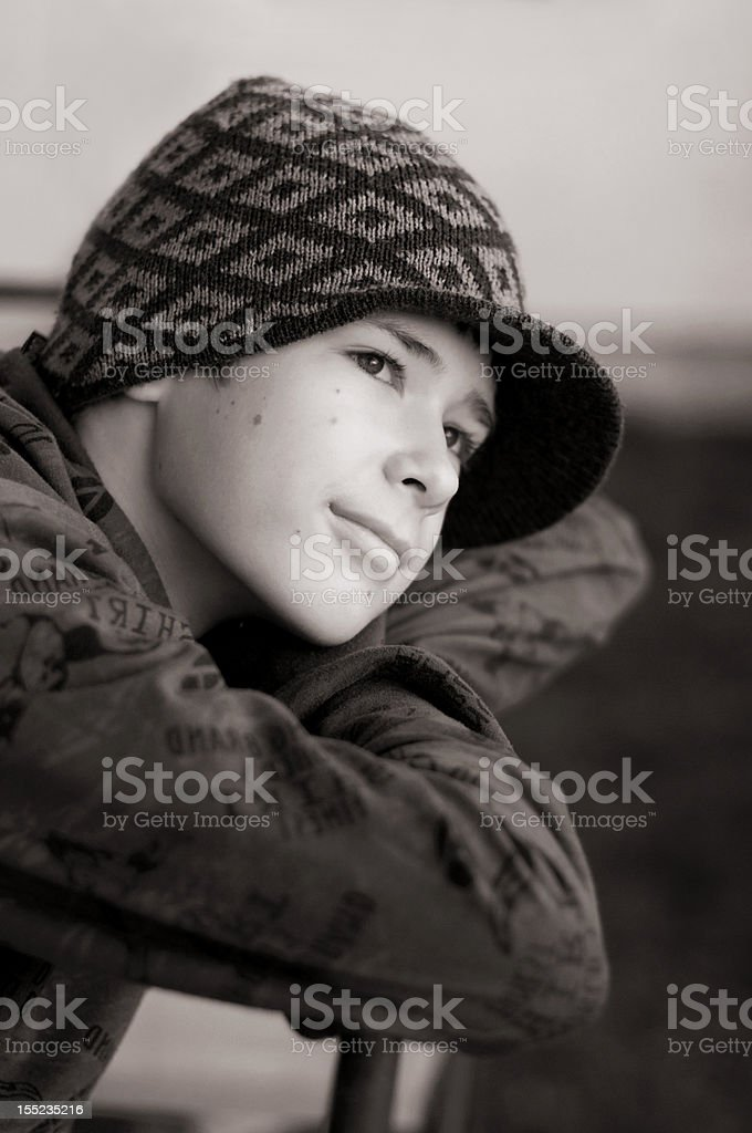 Young boy thinking royalty-free stock photo
