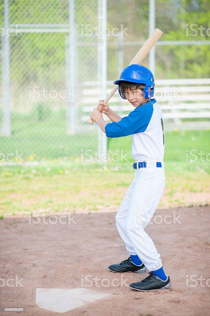 Young Boy Up at Bat stock photo
