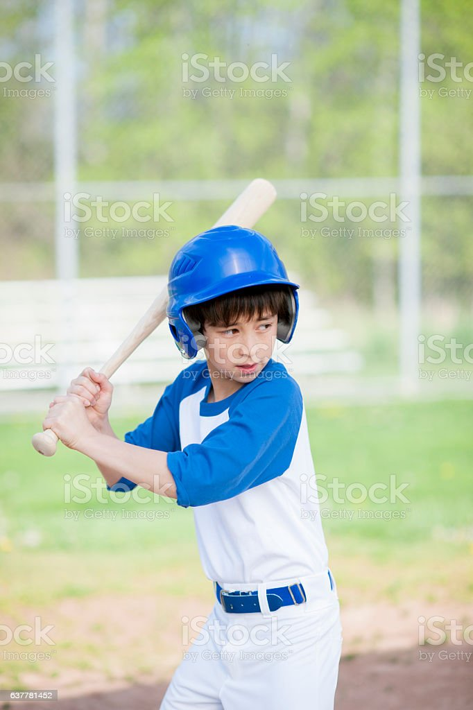 Young Boy Up at Bat stock photo